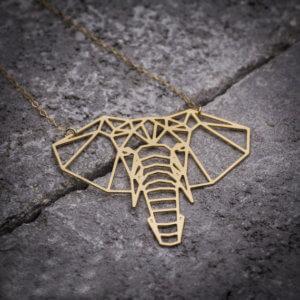 Origami Elephant Geometric Necklace Gold