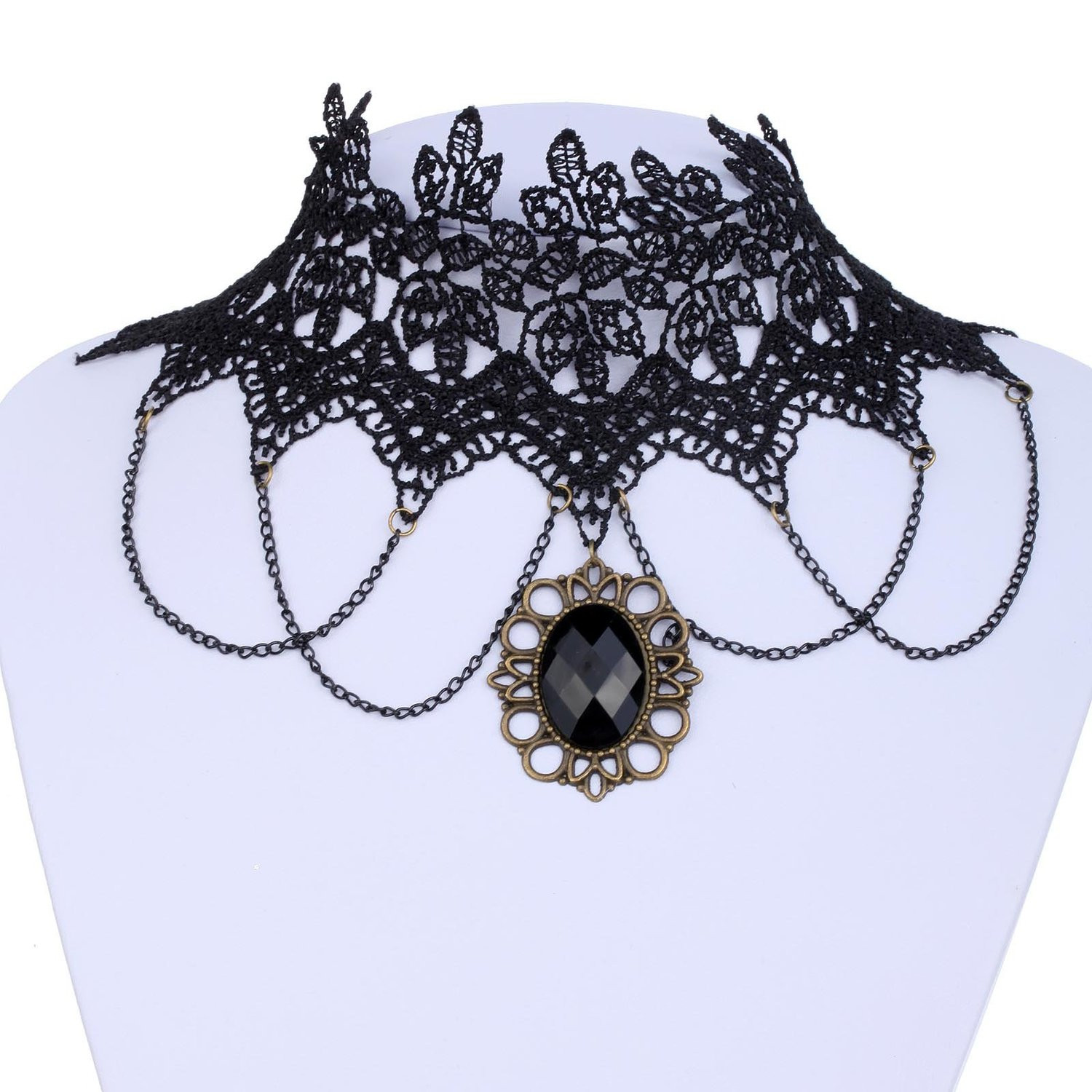 Steampunk Retro Lace Gemstone Pendant Choker