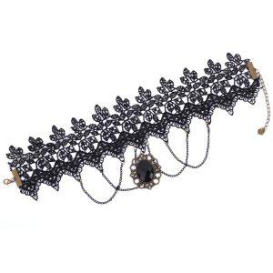 Steampunk Retro Lace Gemstone Pendant Choker