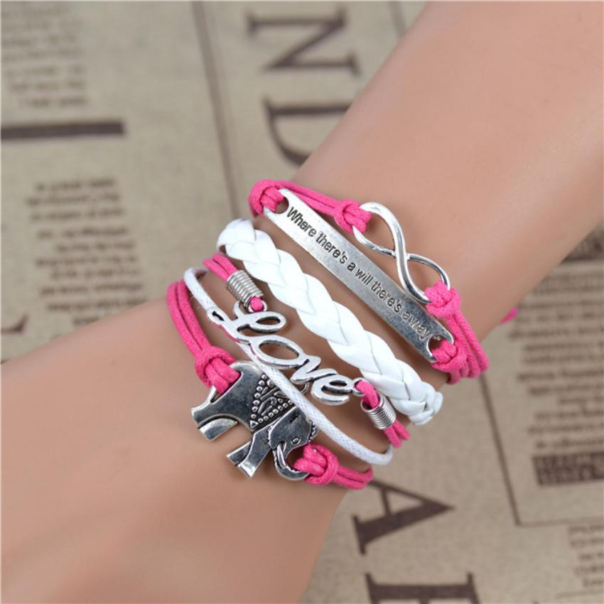 Boho Infinity Elephant Love Multilayer Weave Bracelet