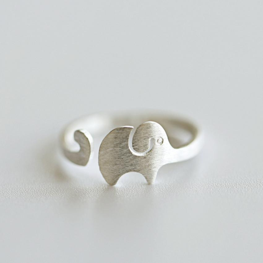 Matte 925 Sterling Silver Elephant Ring