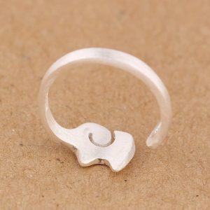 Matte 925 Sterling Silver Elephant Ring