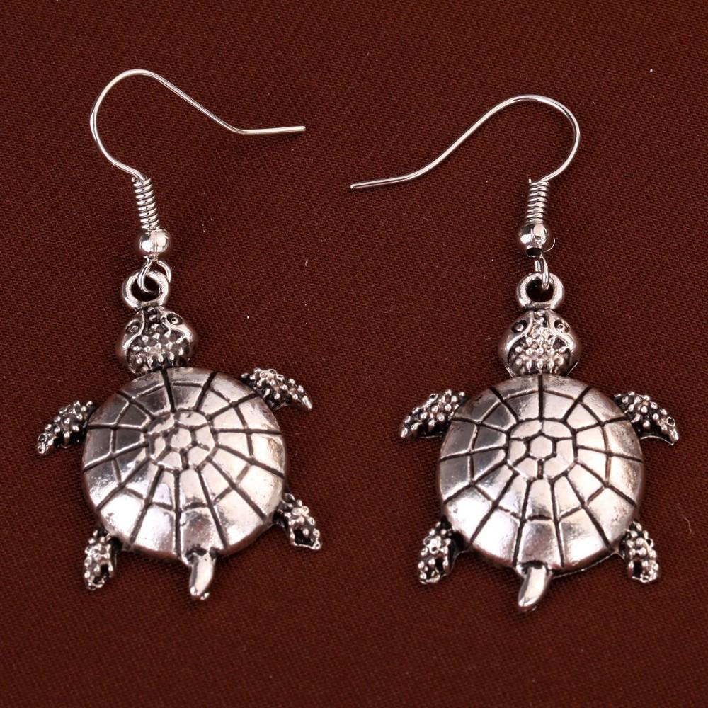 Turtle Dangle Silver Earrings