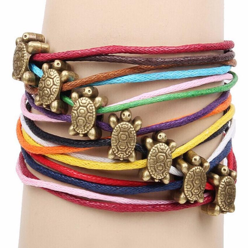 Turtle Charm Leather Braided Bracelet