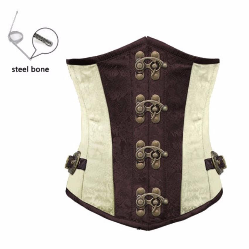 Gothic White Steampunk Corset With Underbust Steel Boned Cincher Waist Belt
