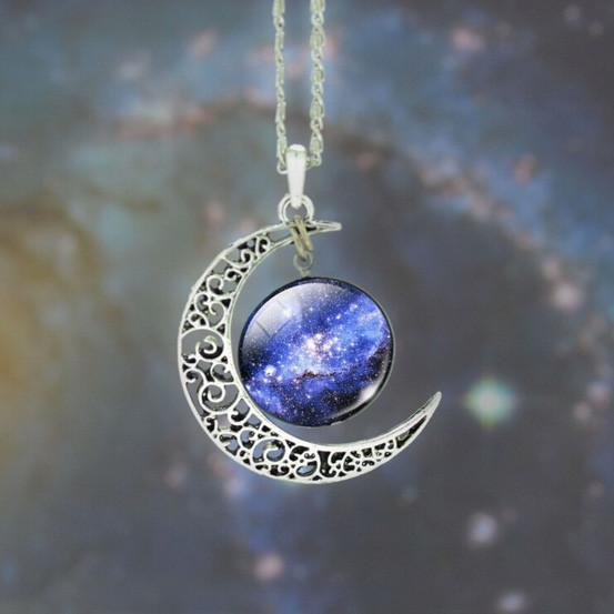 Moon And Beyond Glass Pendant