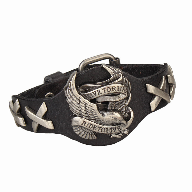 Leather Live To Ride, Ride To Live Bracelet