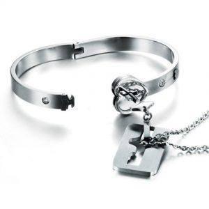 Lock Key Bracelet And Pendant Jewelry Set