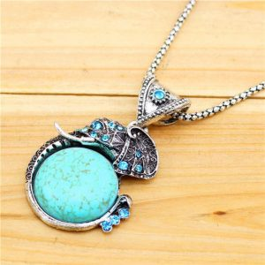 Antique Silver Plated Crystal Turquoise Elephant Necklace