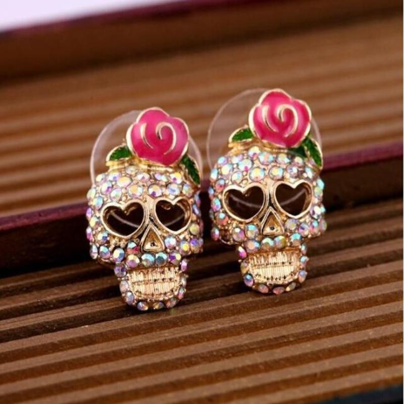 Retro Gold Filled Diamond Skull Earrings