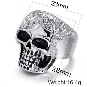 Silver Simulated Diamond Skull Ring