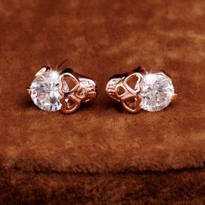 Heart Shaped 18K Gold Plated Skull Earrings