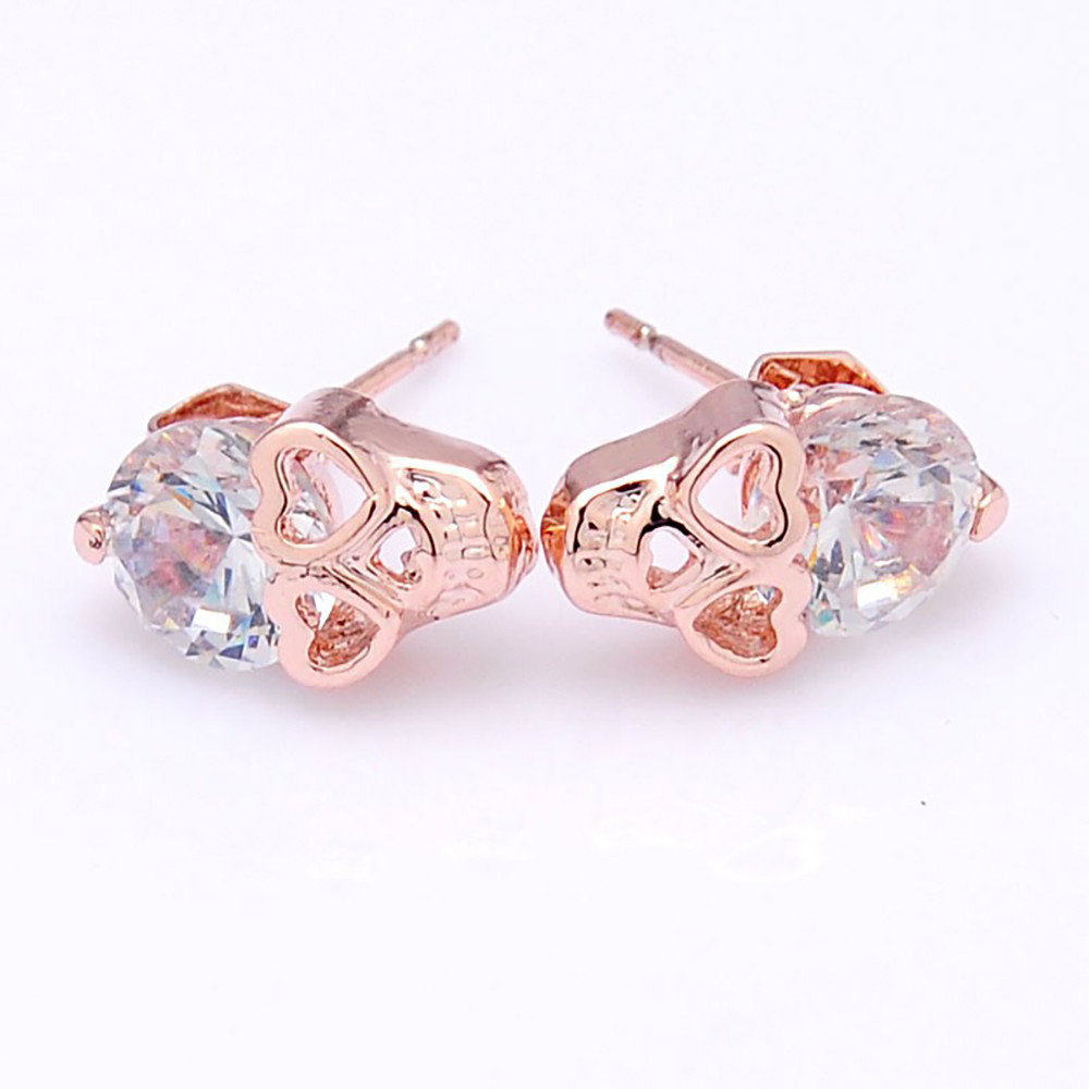 Heart Shaped 18K Gold Plated Skull Earrings