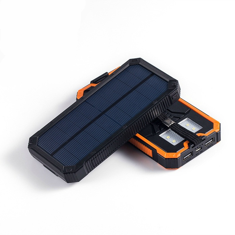Solar Charger - 12,000 mAh Backup Power Supply With Dual USB, Solar Panel,  Waterproof, Phone Charger