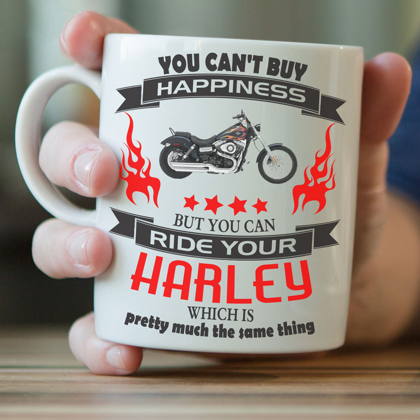 """You Can't Buy Happiness"" Harley Mug"