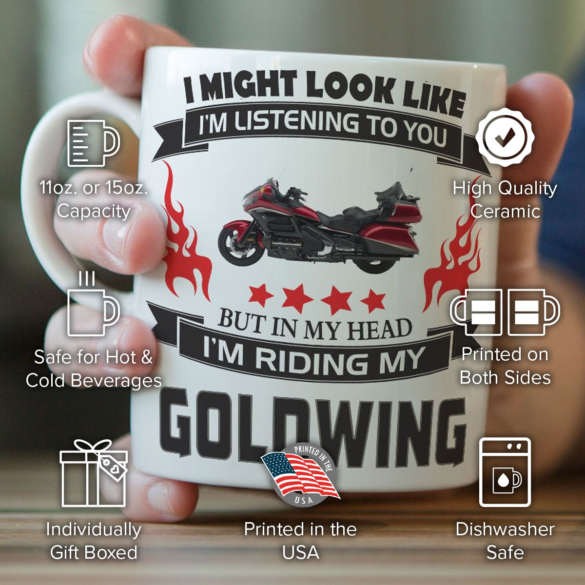 """I Might Look Like I'm Listening To You"" Goldwing Mug"
