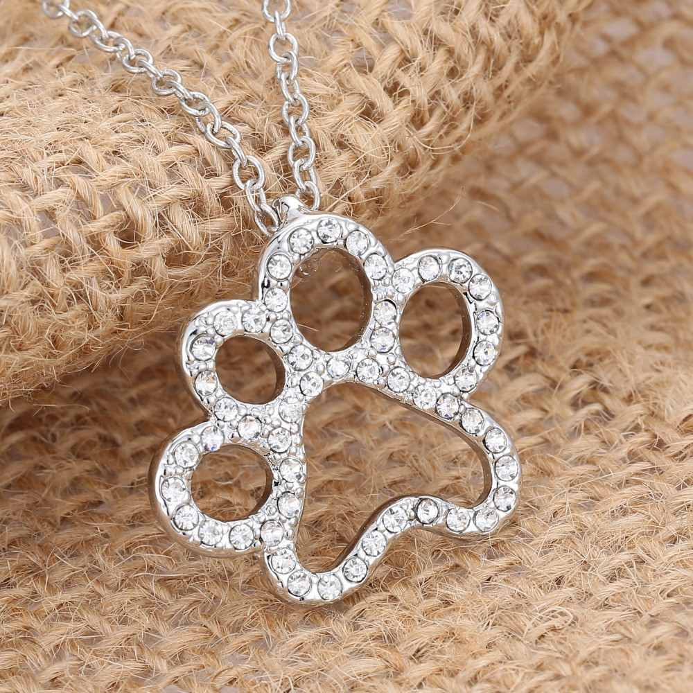 Charming Silver Plated Dog Paw Necklace