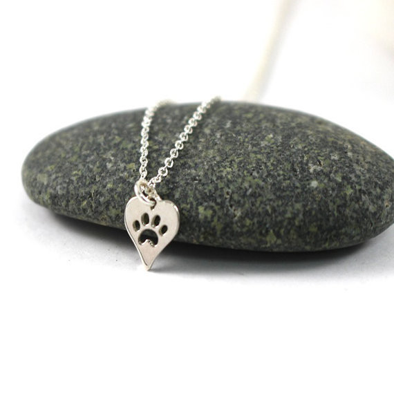 Dog Paw Print Heart Necklace