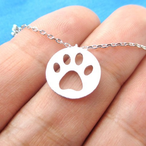 Dog Paw Print  Coin Shaped Necklace