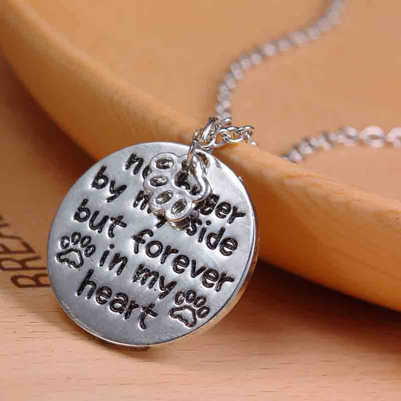 """No Longer by My Side But Forever In My Heart"" Pet Memorial Necklace"