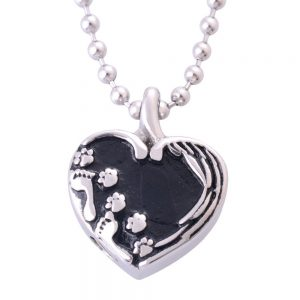 Stainless Steel Heart Pendant Urn Dog Memorial Necklace