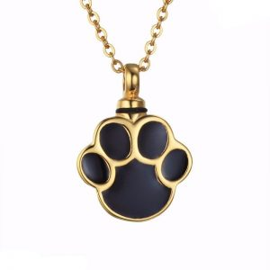 Gold Paw Cremation Urn Necklace