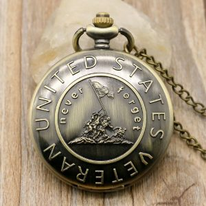 """United States Veteran"" Bronze Pocket Watch With Necklace Chain"