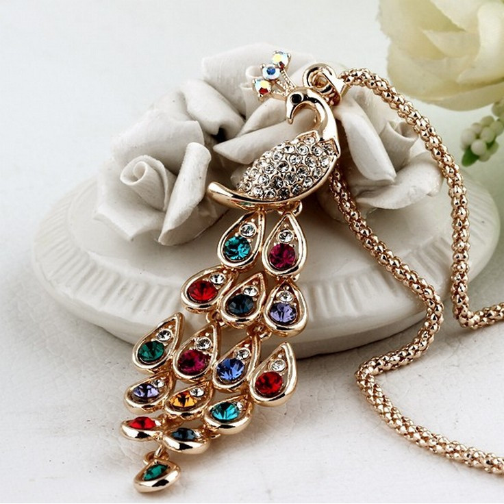 Gold Plated Rhinestone Colorful Peacock Necklace