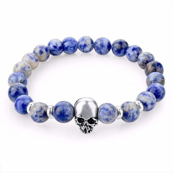 Natural Stone Skull Bracelet