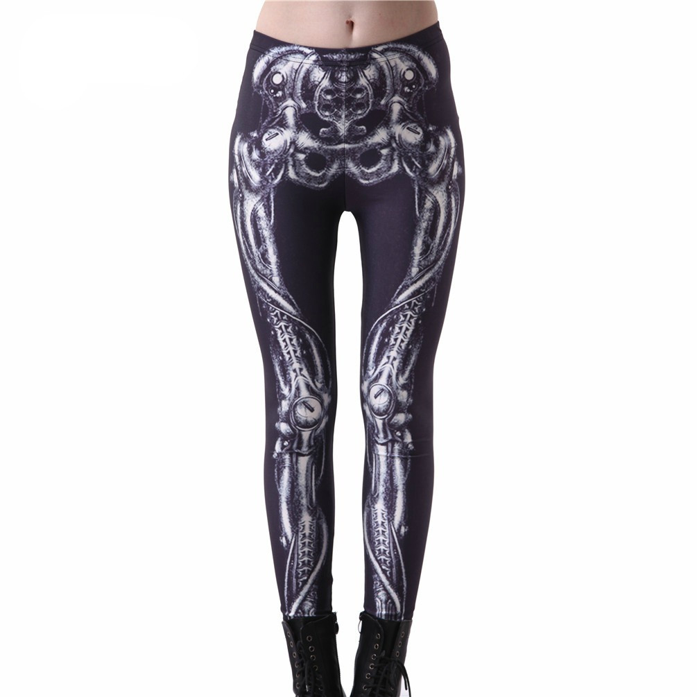 Bones Black Steampunk Leggings