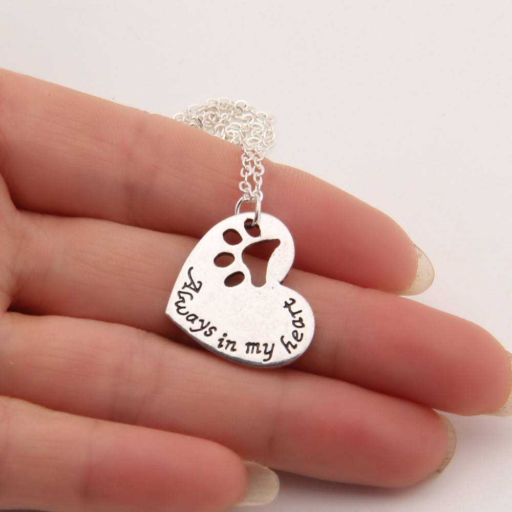 """Always In My Heart"" Dog Paw Memorial Necklace"