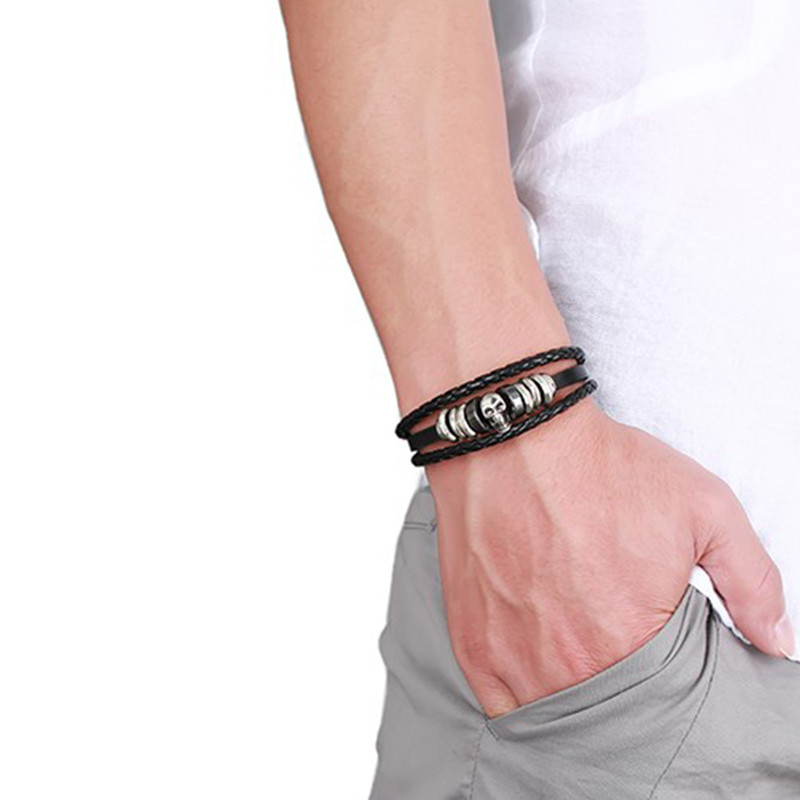 Men's Braided Genuine Leather Skull Bracelet